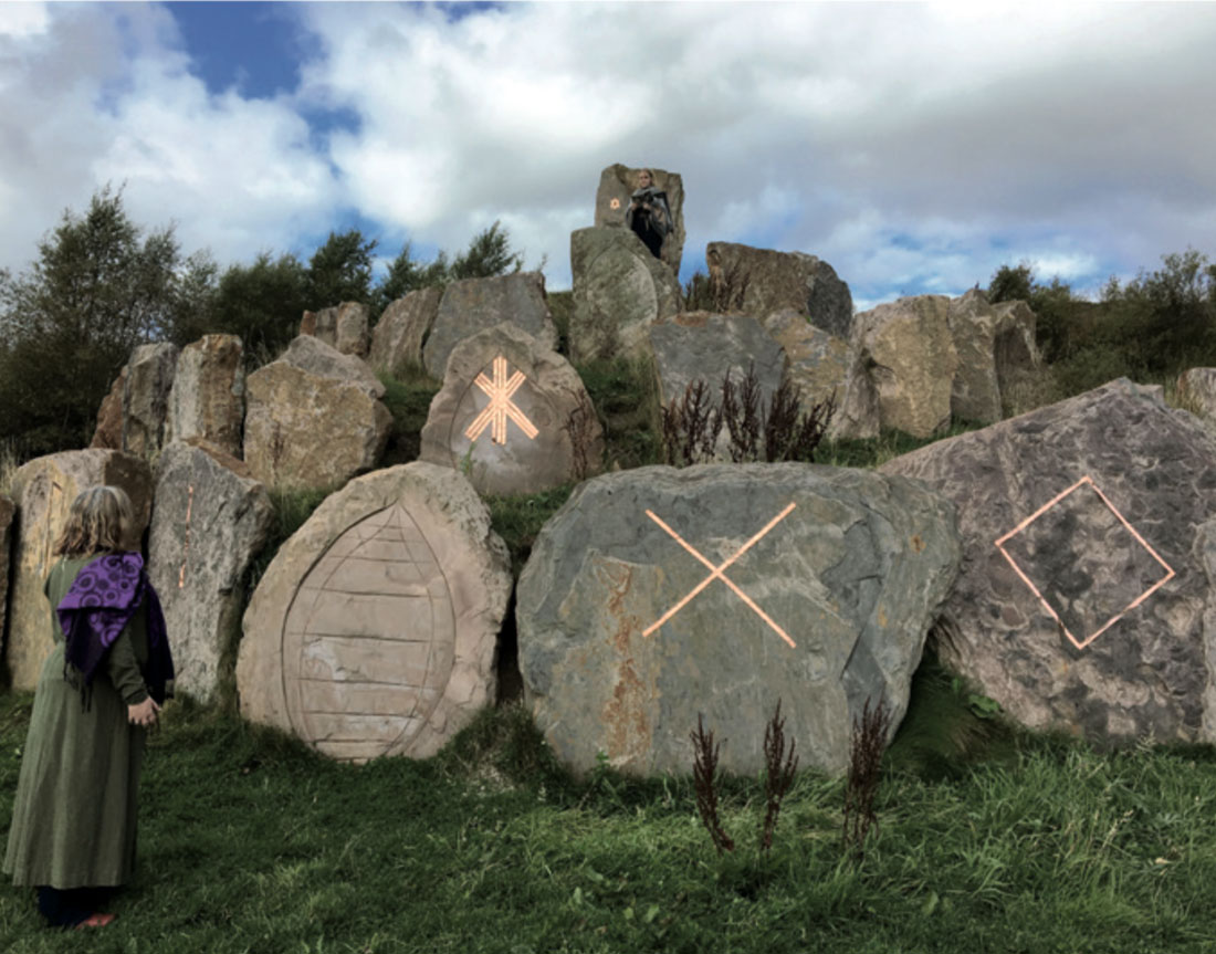 Katharine Vega and Tracey Benson, work in  progress for Of the Spheres, mixed reality performance at the Crawick  Multi verse land art site by Charles Jencks, Dumfries and Galloway, 2017